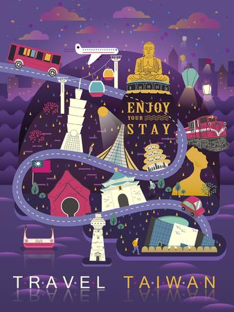 フラット スタイルの台湾旅行ポスター デザイン