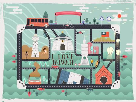 創造的な台湾旅行要素グッズ キット デザイン  イラスト・ベクター素材