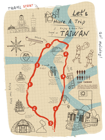 tourist spots: creative Taiwan travel map on notepaper in line style