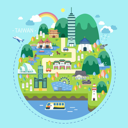 adorable Taiwan travel concept illustration in flat design Ilustração
