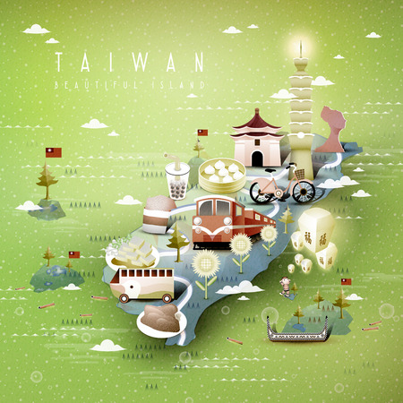 bao: amazing Taiwan attractions map in 3d isometric style -blessing word in chinese on the sky lantern Illustration