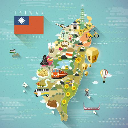 viajes: mapa encantadora viajes Taiwán - bendiciendo palabra en chino en la linterna del cielo Vectores