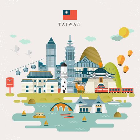 mooie Taiwan reizen kaart ontwerp in vlakke stijl
