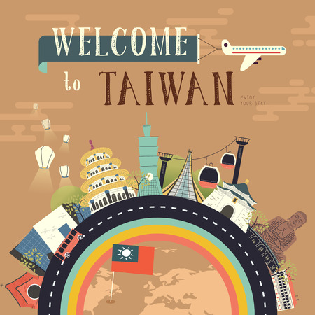 attractions: lovely Taiwan travel poster design with famous attractions