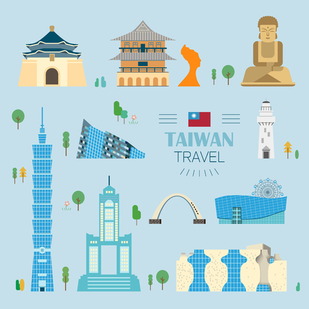 lovely Taiwan travel concept collections set in flat style