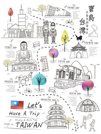 aborigen: retro del cartel del viaje de Taiwán en el estilo de línea - Taiwan Formosa en palabras chinas en la parte superior derecha Vectores