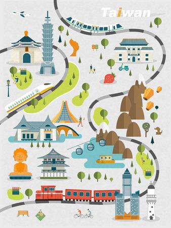 encantador: adorável Taiwan projeto do mapa de viagem em estilo plano