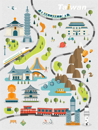 travellers: lovely Taiwan travel map design in flat style