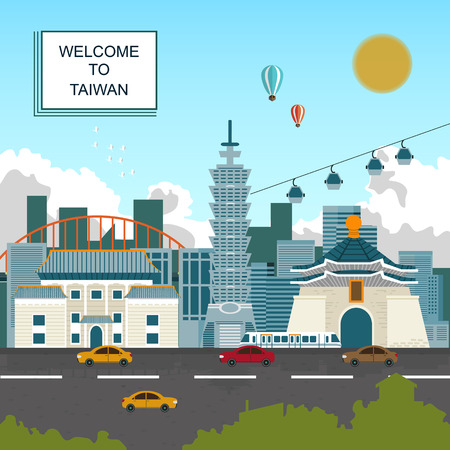 taiwan scenery: lovely Taiwan travel poster design in flat style Illustration