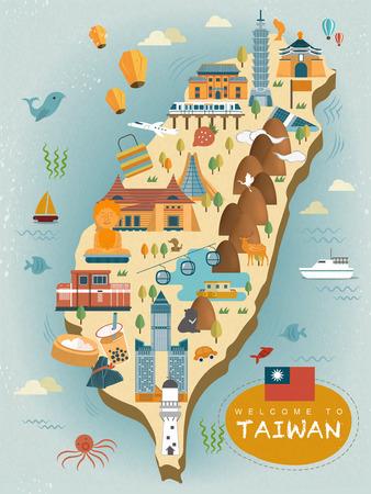 フラット スタイルの素敵な台湾旅行地図デザイン