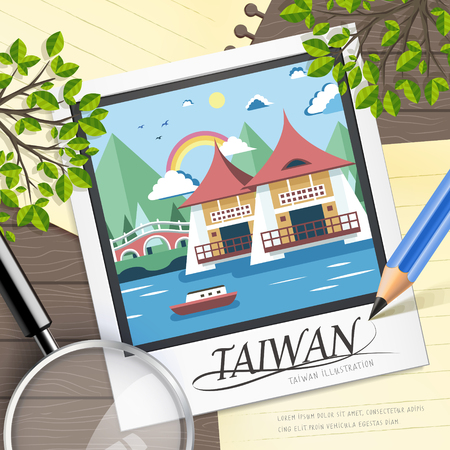 taiwan: famous Taiwan travel attractions in flat design