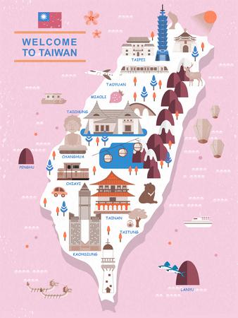 Schöne Taiwan Reise-Karte Design im flachen Stil Standard-Bild - 48666451