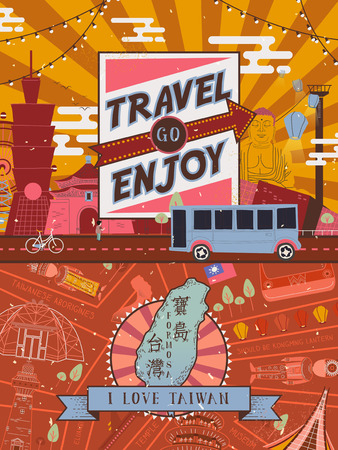 attractions: lovely Taiwan travel poster design with famous attractions - Taiwan Formosa in Chinese word on the island