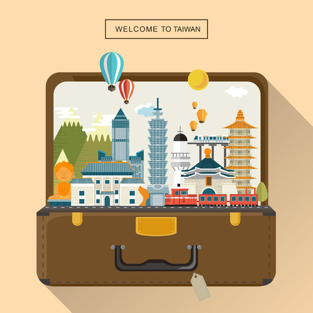 lovely Taiwan travel poster design - attractions in luggage