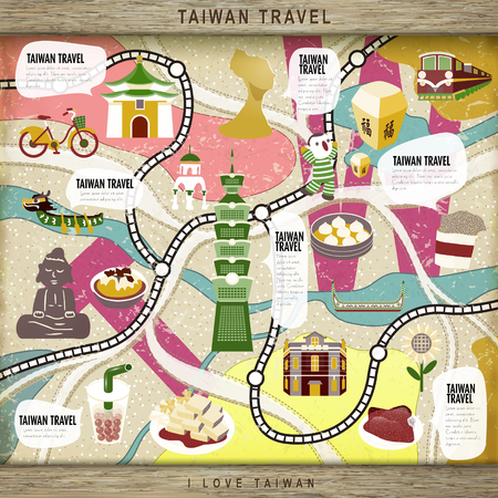 sky lantern: lovely Taiwan travel concept board game with attractions - blessing word in chinese on the sky lantern Illustration