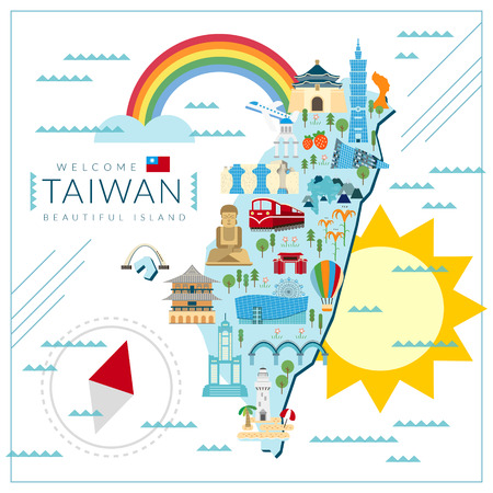 attractions: lovely Taiwan travel map design in flat style
