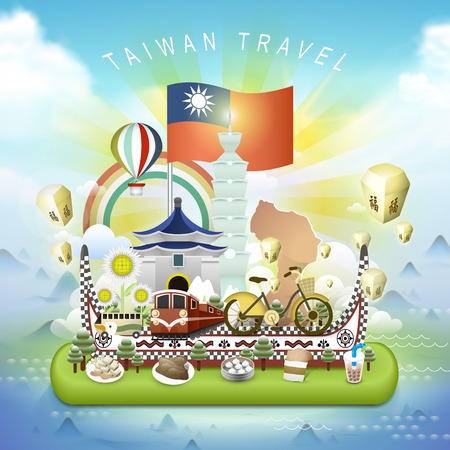 sky lantern: lovely Taiwan travel elements in 3d isometric style - blessing word in chinese on the sky lantern