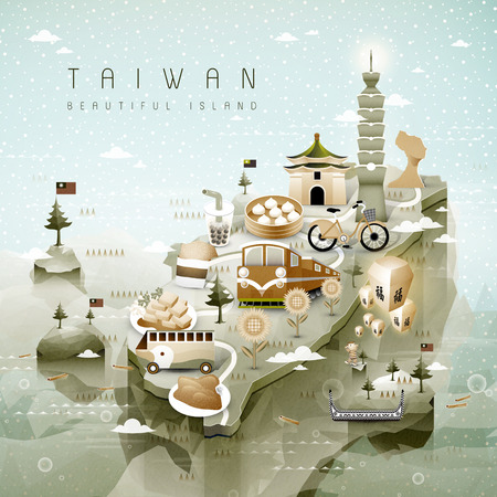 Erstaunliche Karte Taiwan Attraktionen in isometrischen 3D-Stil -blessing Wort in der chinesischen am Himmel Laterne Standard-Bild - 48666460