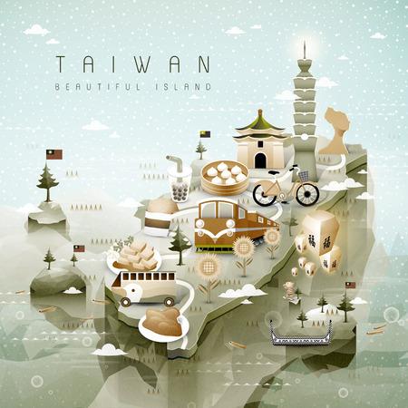 verbazingwekkende Taiwan attracties kaart in 3d isometrische stijl - zegen woord in het Chinees op de lucht lantaarn