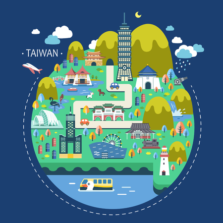 adorable Taiwan travel concept illustration in flat design 向量圖像