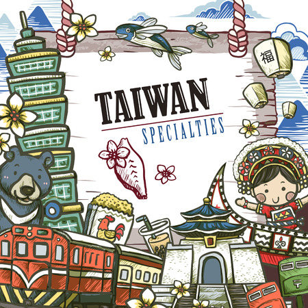 tour guide: lovely Taiwan specialties poster design in hand drawn style - Chinese blessing word on sky lantern