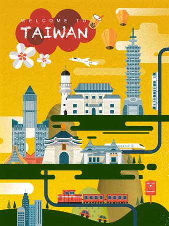 encantador: lovely design do cartaz do curso Taiwan em estilo plano