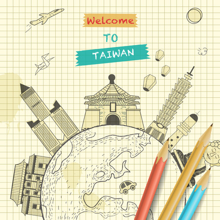 attractions: retro Taiwan travel poster design with attractions on notepaper Illustration