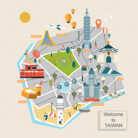 bao: lovely Taiwan travel map design in flat style