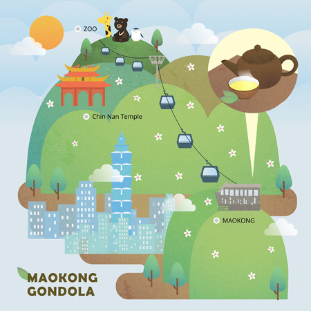 beautiful scenery: adorable Taiwan Maokong scenery in flat style Illustration