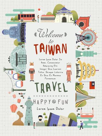 cabeza de buda: dise�o encantador del cartel del viaje Taiw�n con lugares de inter�s tur�stico
