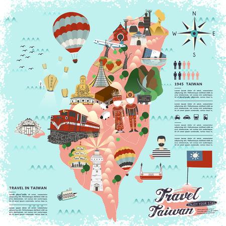 플랫 스타일의 사랑스러운 대만 여행 포스터 디자인 - 하늘 랜턴 중국어 축복 단어