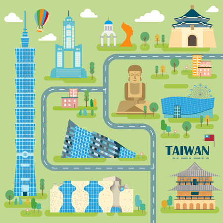 speciality: lovely Taiwan travel map design in flat style