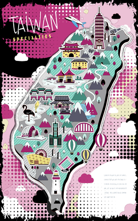 rosa negra: colorido mapa de Taiwán con atracciones en estilo plano