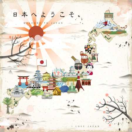 vacation map: beautiful Japan travel map - Welcome to Japan in Japanese on upper left