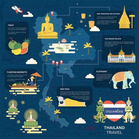 attractive Thailand travel map poster in flat style - Thailand country name in Thai word Ilustração