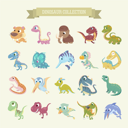 dinosaur cute: adorable cartoon dinosaur collections set in flat style