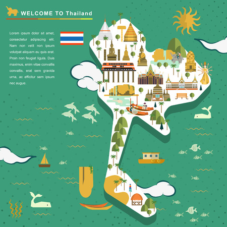 bangkok temple: adorable Thailand travel concept poster in flat style Illustration