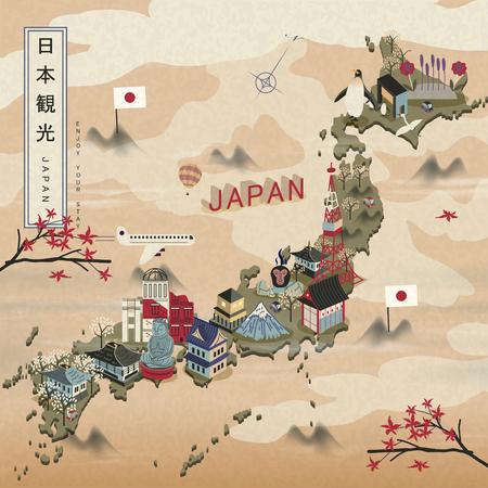 우아한 일본 여행지도 - 일본은 왼쪽 상단에 일본어 단어 여행