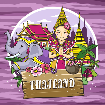 thai dance: adorable Thailand travel concept poster in hand drawn style