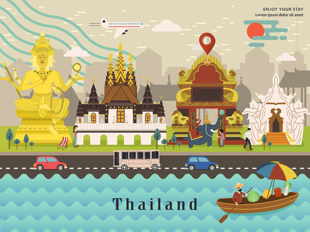 thai culture: attractive Thailand travel concept poster in flat style Illustration