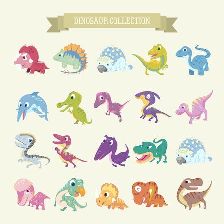 かわいい漫画恐竜コレクションをフラット スタイルに設定します。