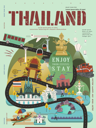 thai dancing: modern Thailand travel concept poster in flat style