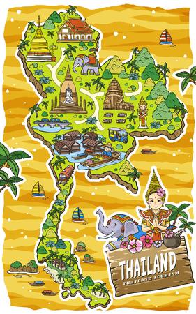 愛らしいタイ旅行の概念マップ手に描画スタイル
