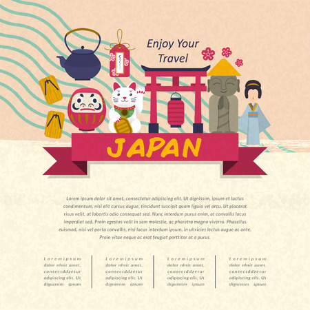 an island tradition: adorable Japan travel concept poster in flat style