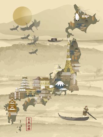 reise retro: retro Japan Reise-Karte - Japan reisen in den japanischen Wörtern links unten Illustration