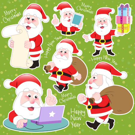 santa claus greeting: cute cartoon Santa Claus collection on green background