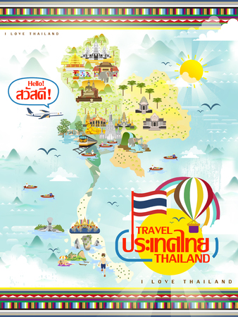 thailand culture: attractive Thailand travel map in flat style - Thailand and hello words in Thai