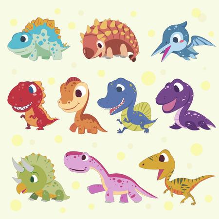 dinosaurio: colecciones adorable dinosaurio de la historieta fijados en estilo plano