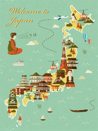 hokkaido: lovely Japan travel map - hello in Japanese words on upper left Illustration