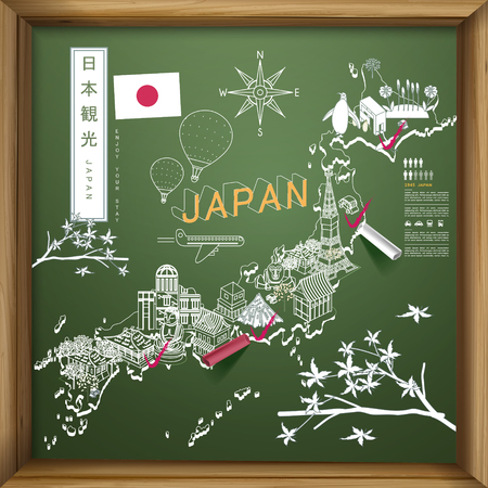 creative Japan travel map on chalkboard - Japan travel in Japanese words on upper left